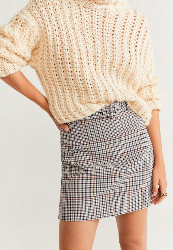 женская прямые юбка mango, бежевая