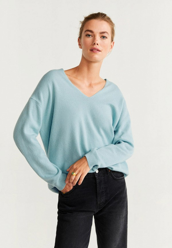 женский пуловер mango, голубой