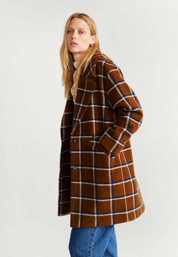 женское пальто mango, коричневое