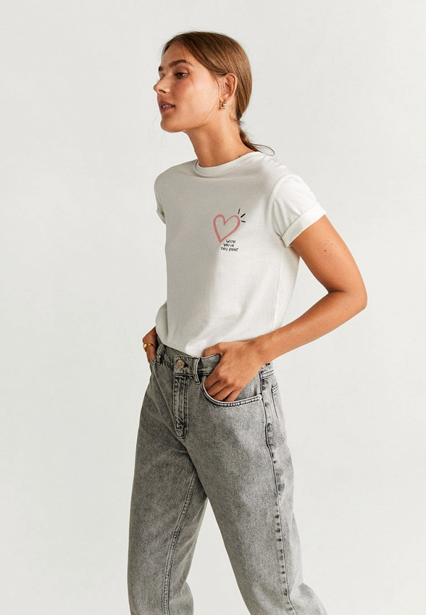 женская футболка mango, белая
