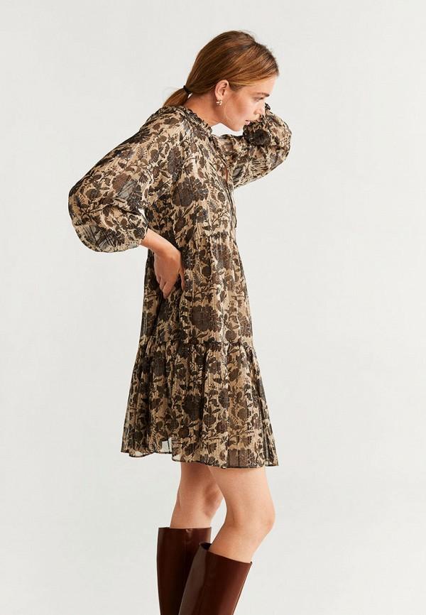 женское повседневные платье mango, коричневое