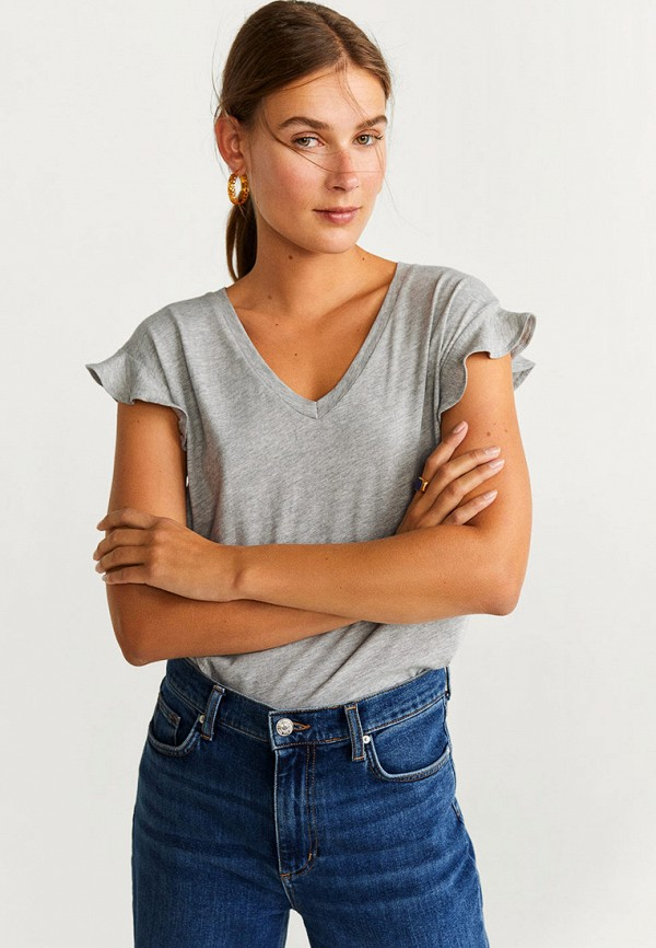 женская футболка mango, серая