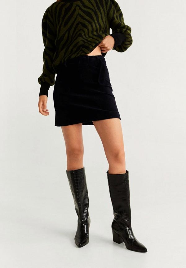 женская прямые юбка mango, черная