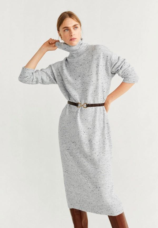 Фото - женское вязаное платье Mango серого цвета