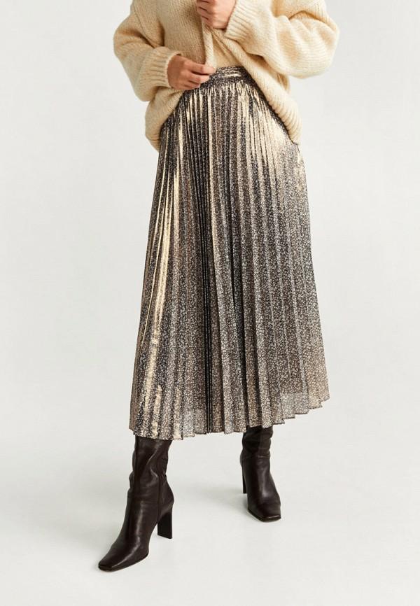 женская юбка mango, золотая