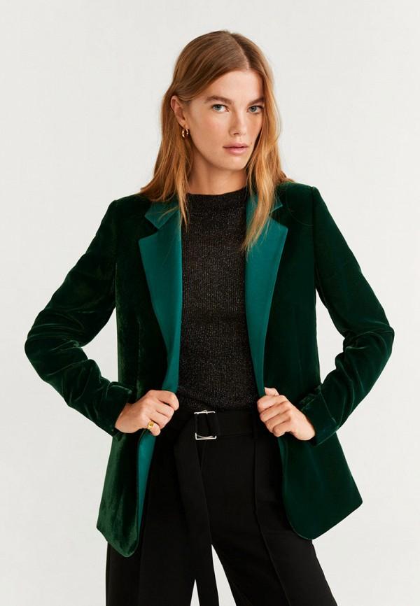 женский пиджак mango, зеленый