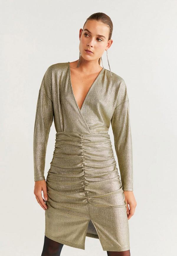 женское вечерние платье mango, золотое
