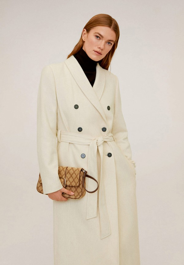 женское двубортные пальто mango, белое