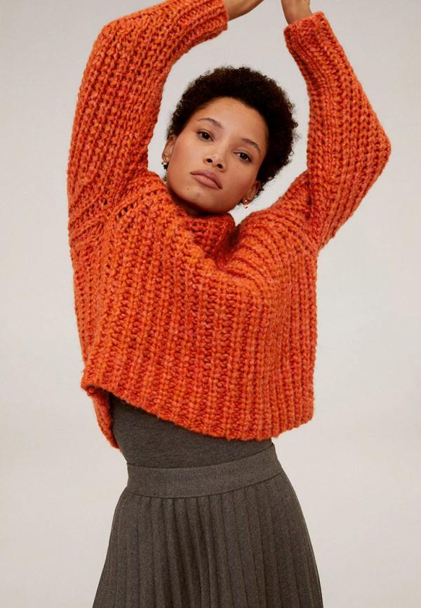 женский свитер mango, оранжевый