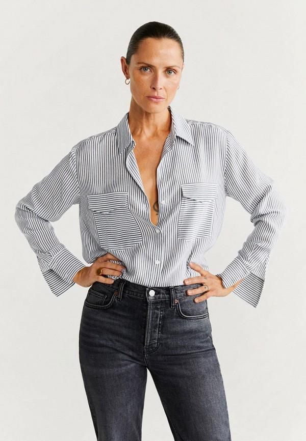 женская рубашка с длинным рукавом mango, черная