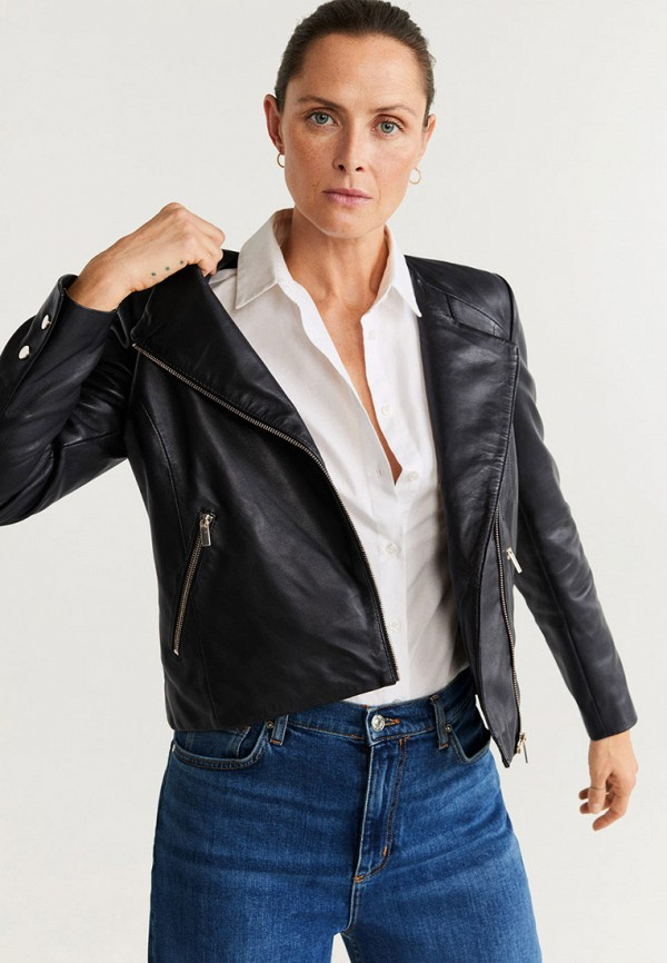 женская кожаные куртка mango, черная
