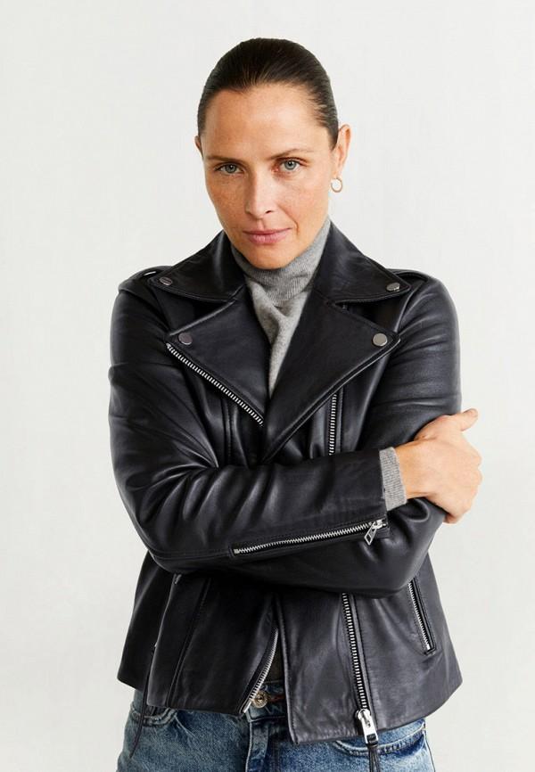 женская куртка косухи mango, черная