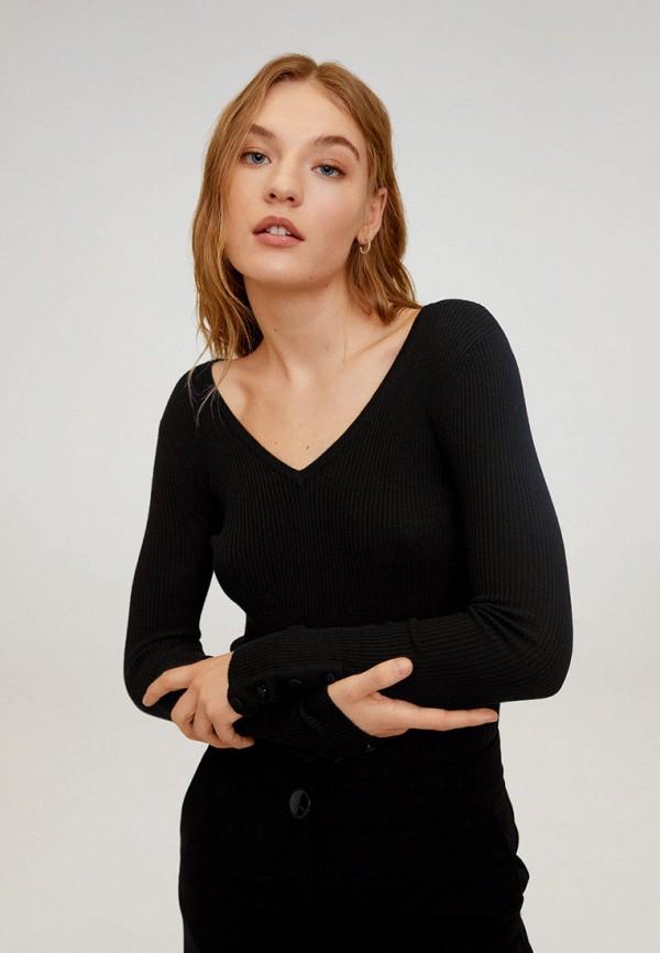 женский пуловер mango, черный
