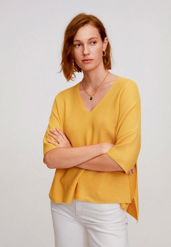 женский пуловер mango, желтый