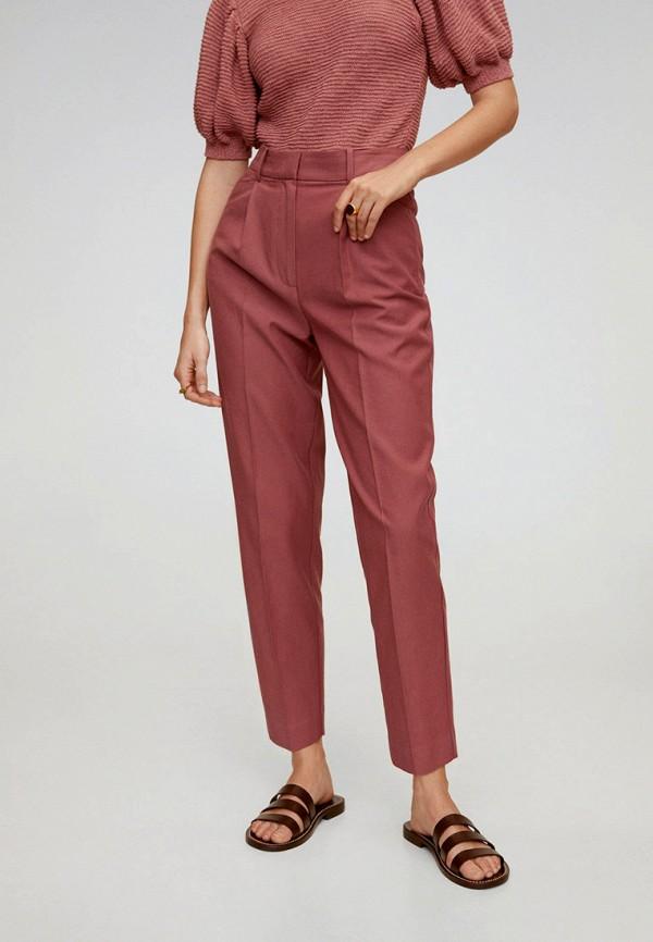 женские классические брюки mango, розовые