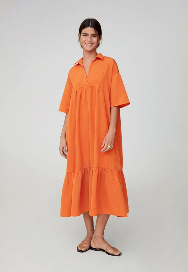 женское повседневные платье mango, оранжевое