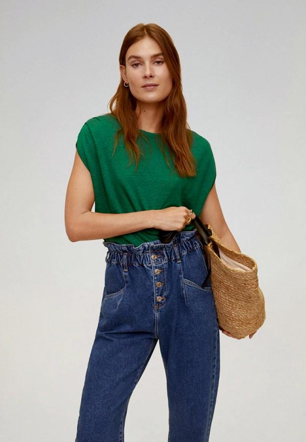 женская футболка mango, зеленая
