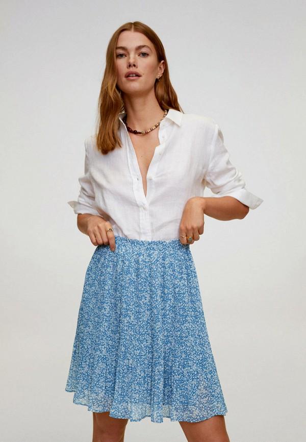женская юбка mango, голубая