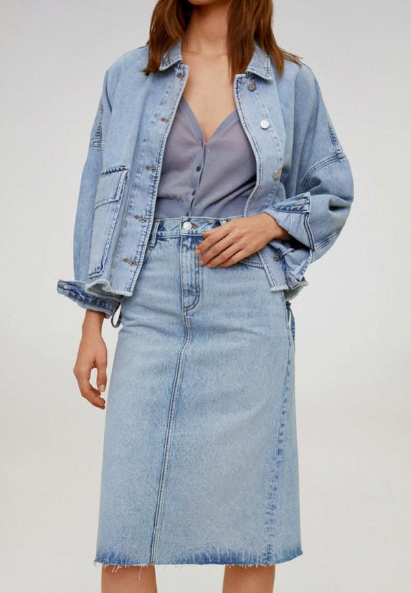 женская джинсовые юбка mango, голубая