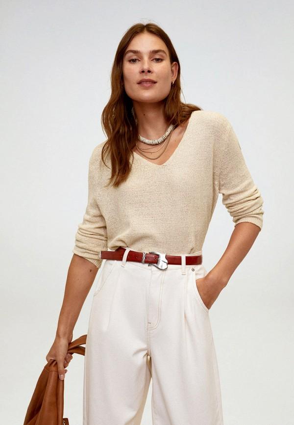 женский пуловер mango, бежевый