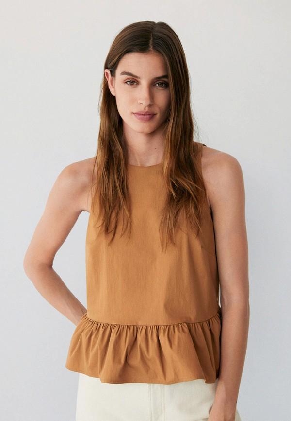 женский топ mango, коричневый