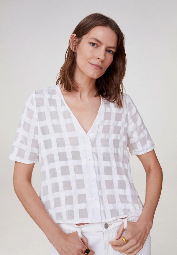 женская блузка с коротким рукавом mango, белая
