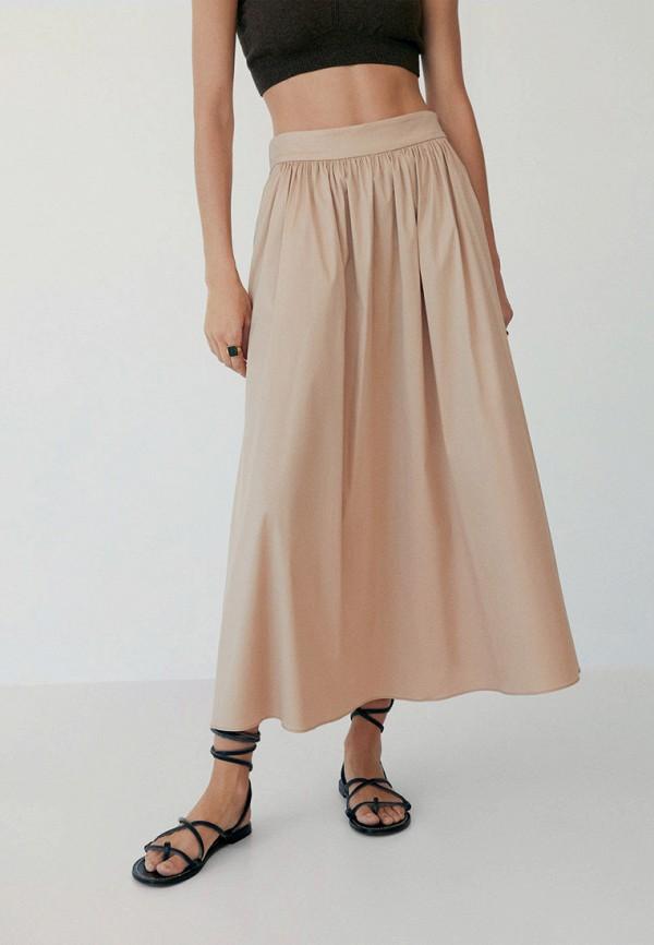 женская юбка-трапеции mango, бежевая