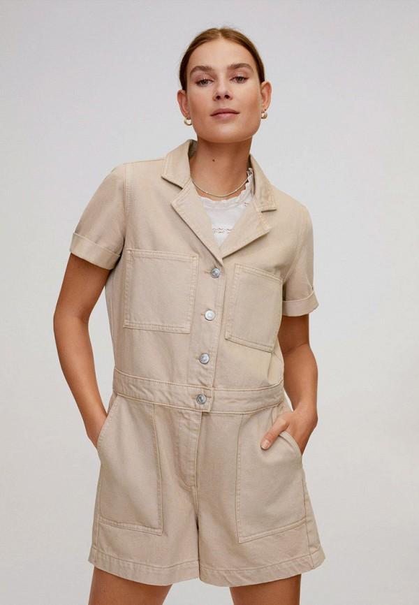 женский комбинезон с шортами mango, бежевый