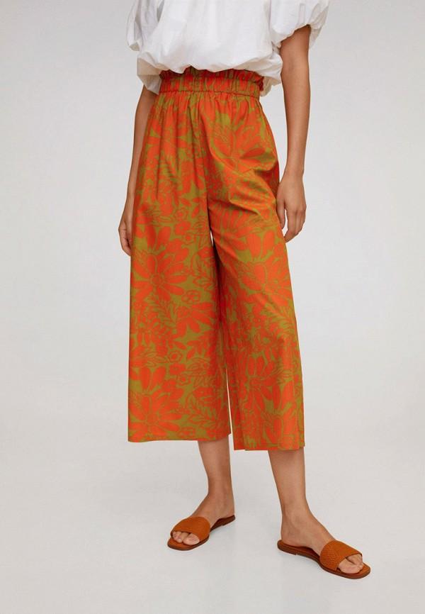 женские брюки кюлоты mango, оранжевые