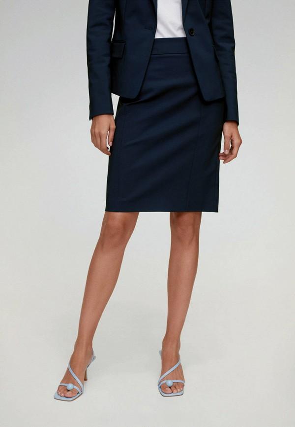 женская прямые юбка mango, синяя