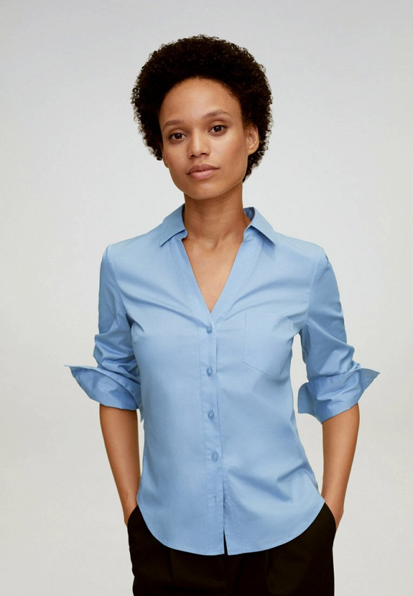 женская блузка с длинным рукавом mango, голубая