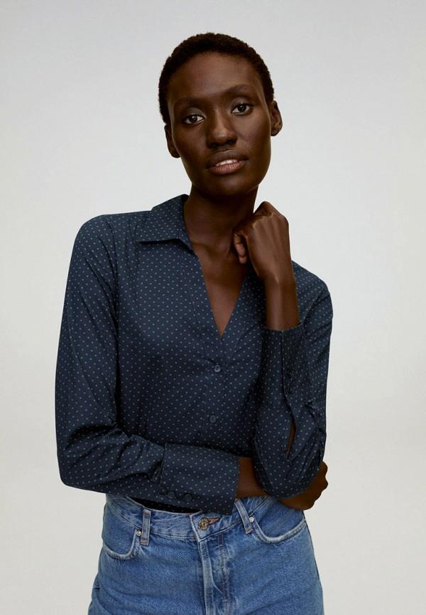 женская блузка с длинным рукавом mango, синяя