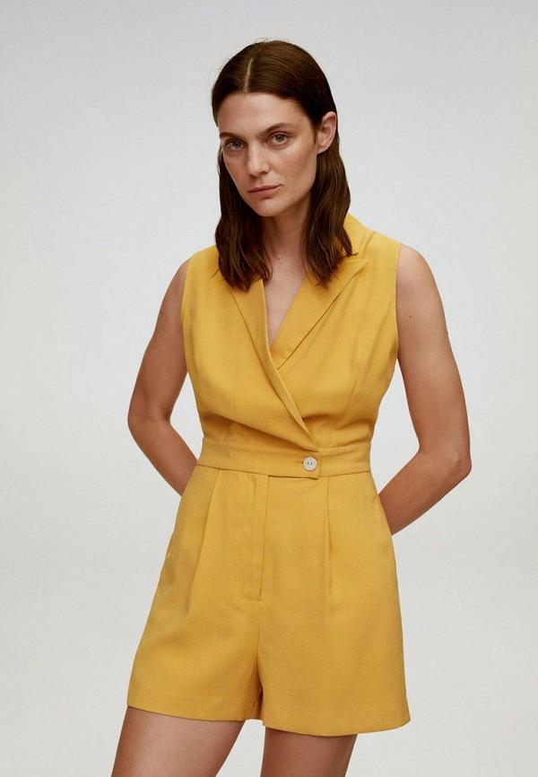 женский комбинезон mango, желтый