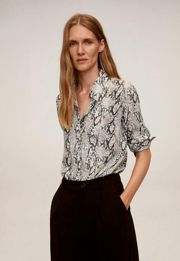 женская рубашка с коротким рукавом mango, серая