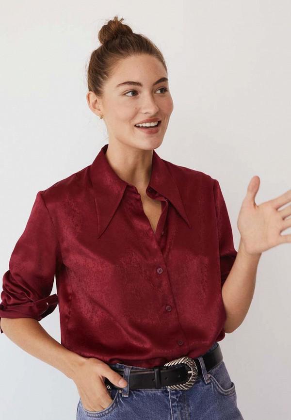 женская рубашка с длинным рукавом mango, бордовая