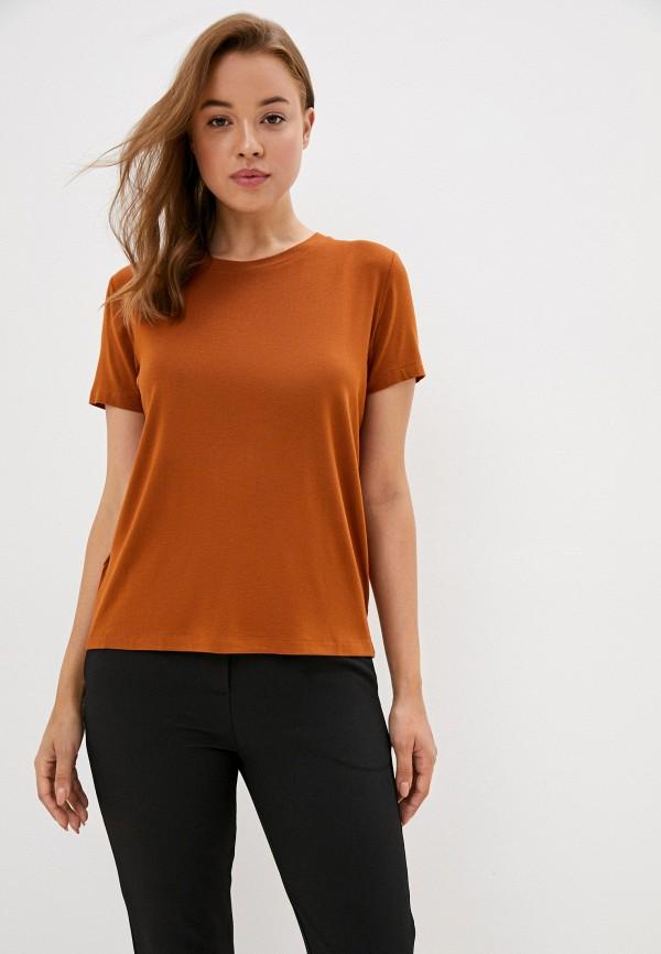 женская футболка mango, коричневая