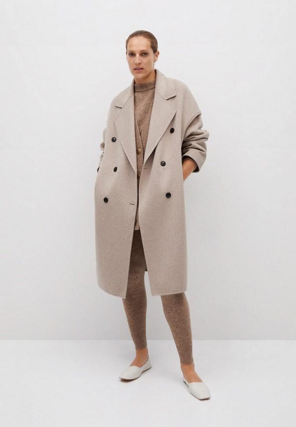 женское пальто mango, бежевое