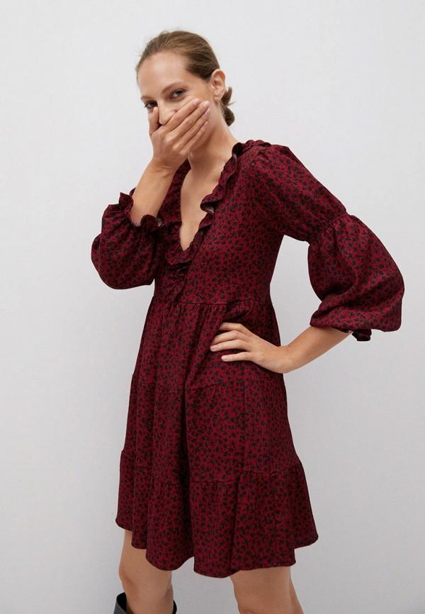 женское повседневные платье mango, бордовое