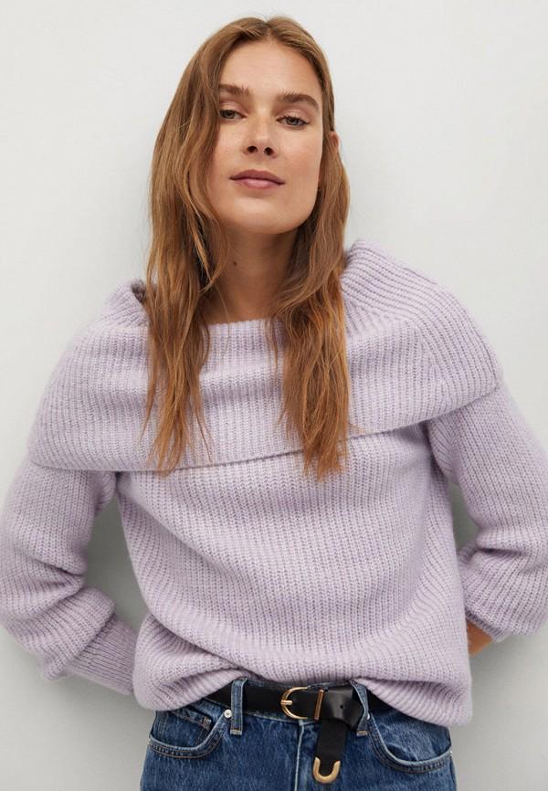 женский джемпер mango, фиолетовый