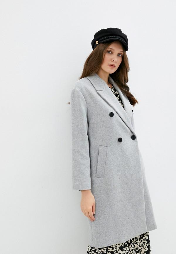 женское двубортные пальто mango, серое
