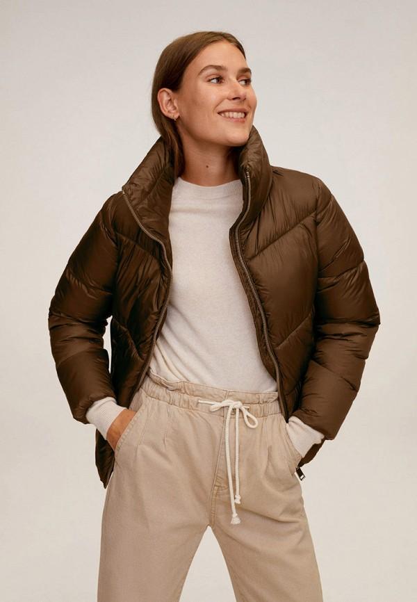 женская утепленные куртка mango, коричневая