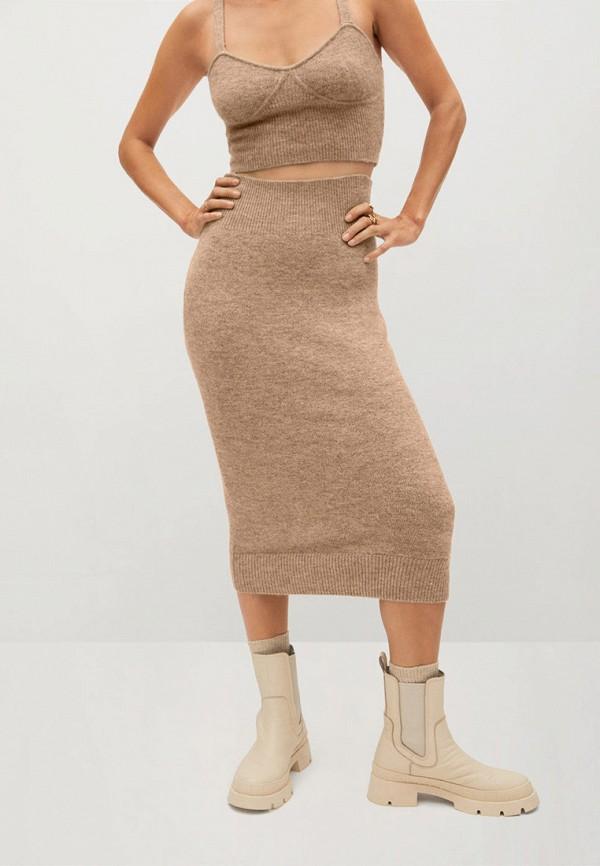 женская зауженные юбка mango, коричневая