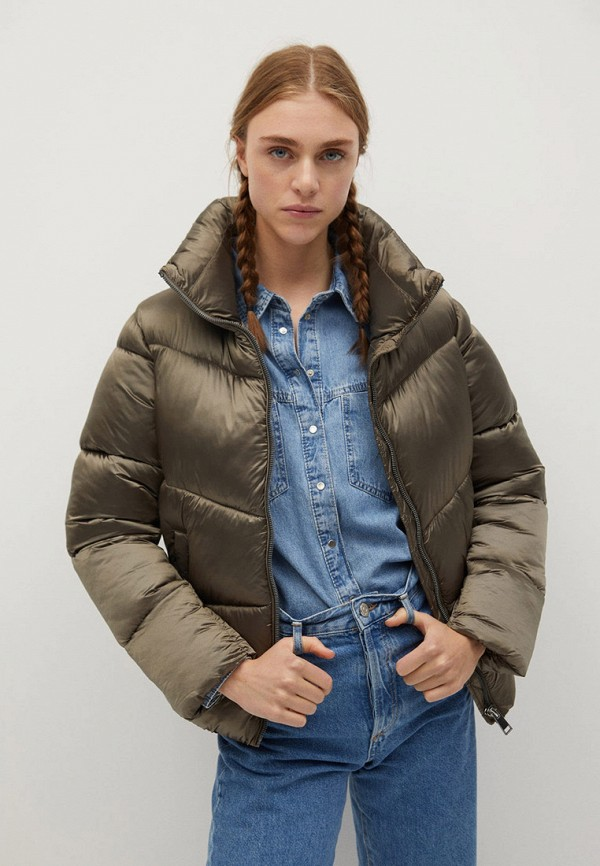 женская утепленные куртка mango, серая