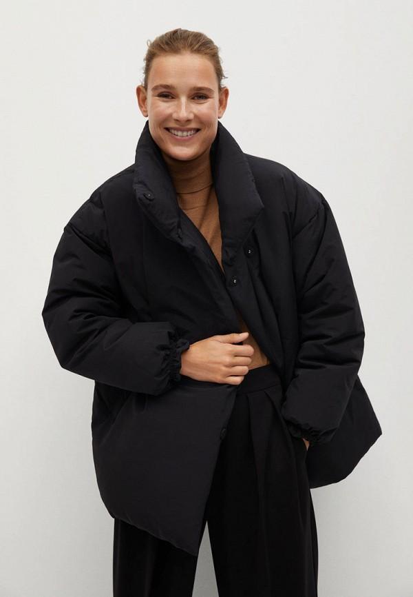 женская утепленные куртка mango, черная