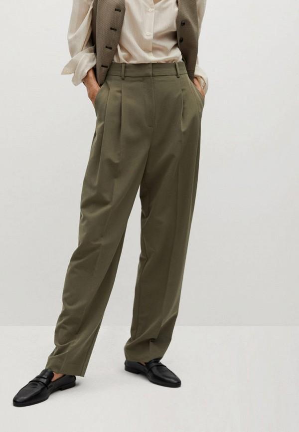 женские прямые брюки mango, хаки