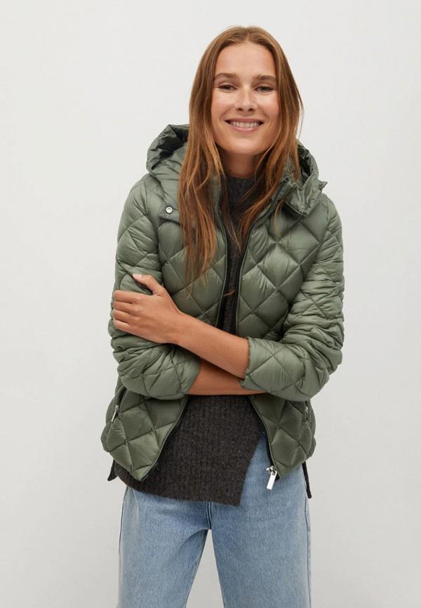 женская куртка mango, зеленая