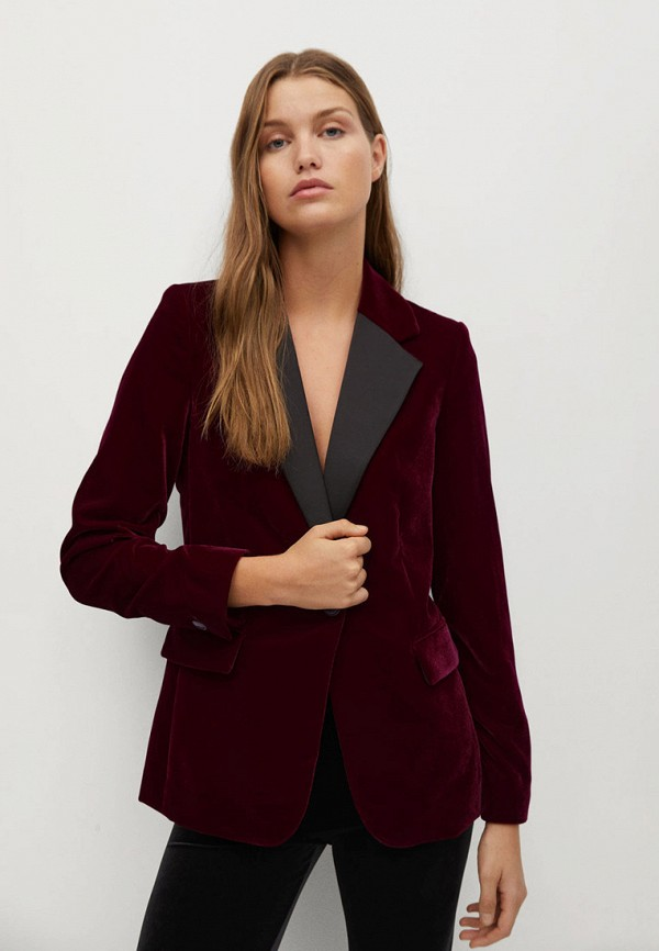 женский пиджак mango, бордовый