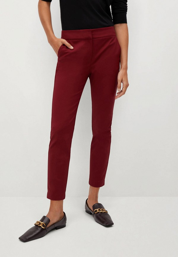 женские повседневные брюки mango, бордовые