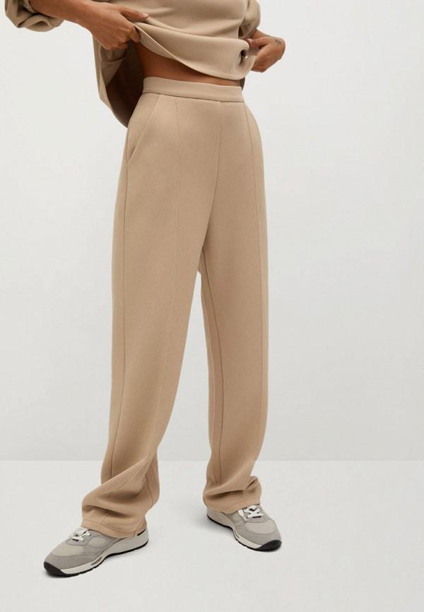женские повседневные брюки mango, бежевые