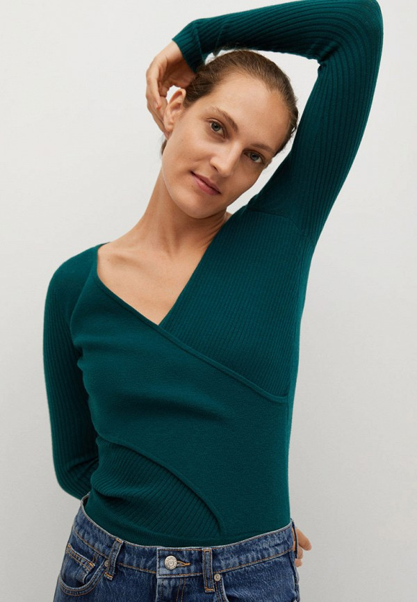 женский пуловер mango, зеленый